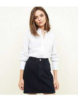 Navy Denim Mini Skirt by New Look