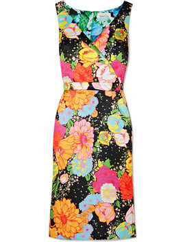 Wrap Effect Floral Print Duchesse Satin Midi Dress by Richard Quinn
