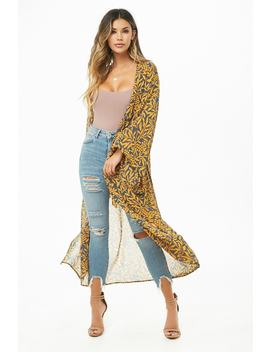 Grapevine Print Belted Kimono by Forever 21