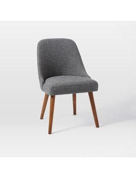 Mid Century Upholstered Dining Chair, Salt + Pepper, Tweed by West Elm