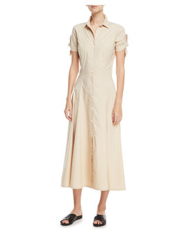 Stretch Cotton Shirt Dress W/ Tie Sleeves by Theory