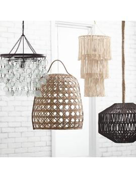 White Cotton Macrame 3 Tier Pendant Shade by World Market