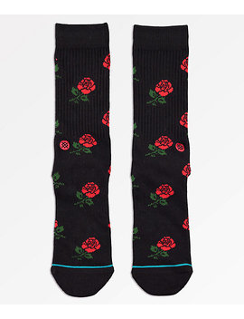 Stance X Chinatown Market Rosey Black & Red Crew Socks by Stance
