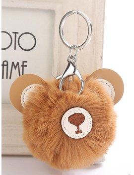 Bear Head Shaped Pom Pom Keychain by Romwe