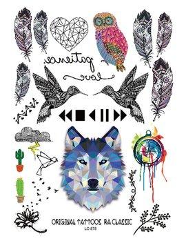 Wolf &Amp; Bird Pattern Tattoo Sticker by Romwe