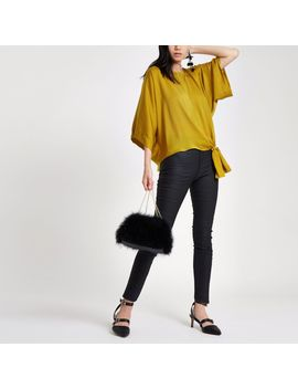 Yellow Knot Side T Shirt by River Island