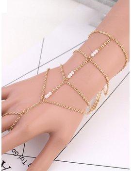 Beaded Detail Toe Ring Chain Bracelet by Romwe