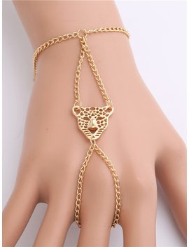 Tiger Detail Finger Ring Combination Chain Bracelet by Romwe