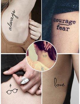 Letter Detail Tattoo Sticker Set 5pcs by Romwe