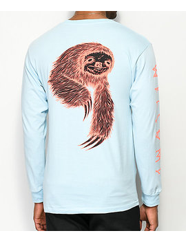 Welcome Sloth Light Blue Long Sleeve T Shirt by Welcome Skateboards