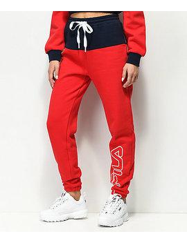 Fila Mara Red & Blue Jogger Pants by Fila