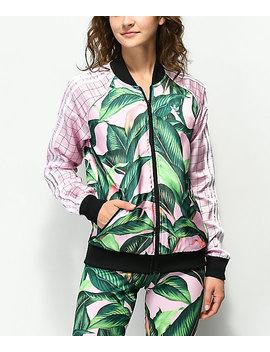 Adidas Palm Leaf Pink & Green Track Jacket by Adidas
