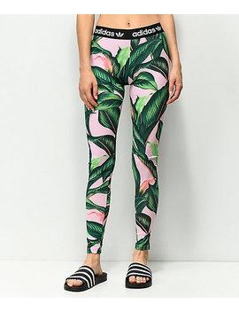 Adidas Palm Leaf Pink & Green Leggings by Adidas