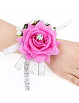 Rose Flower Wrist Corsage Silvery Bling Ribbon Rhinestone Stretch Bracelet Wedding Prom Pack Of 2 Ivory by Amazon