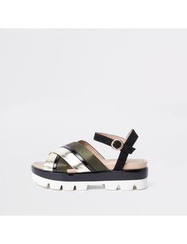 Khaki Cross Strap Chunky Sandals by River Island