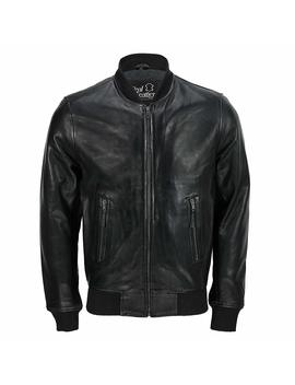 Mens Black Soft Real Leather Vintage Classic Bomber Style Biker Jacket All Sizes by Amazon