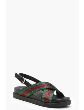 Sports Stripe Cross Strap Sandals by Boohoo