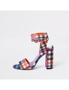 Purple Check Print Block Heel Sandals by River Island