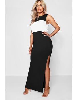 Plus Colour Block Zip Front Maxi Dress by Boohoo