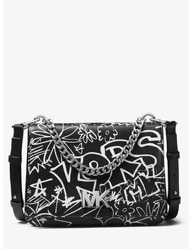 Mott Large Graffiti Leather Crossbody by Michael Michael Kors