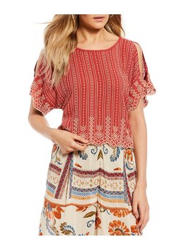 Embroidered Scalloped Top by Generic