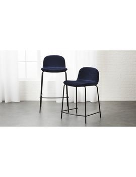 Primitivo Blue Velvet Bar Stools by Crate&Barrel