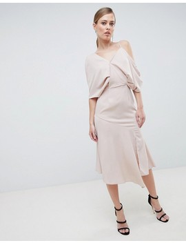 Lavish Alice Asymmetric Cold Shoulder Floaty Midaxi Dress by Lavish Alice