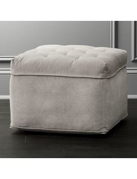 Tufted Light Grey Velvet Pouf by Crate&Barrel