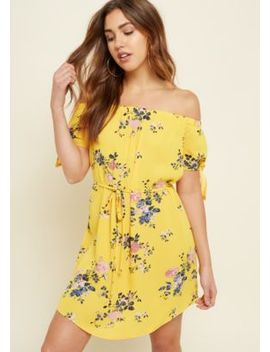 Striped Floral Print Off Shoulder Tie Dress by Rue21