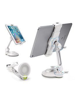 """Above Tek I Pad Suction Cup Holder Tablet Stand, Large Sticky Pad Phone Holder On Smooth Surface Desk Countertop Mirror Window, Swivel Cell Phone Car Holder Tablet Mount 4 11"""" I Phone 5 6 7 I Pad Mini Pro by Above Tek"""