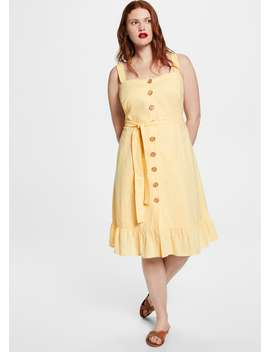 Buttoned Linen Blend Dress by Mango
