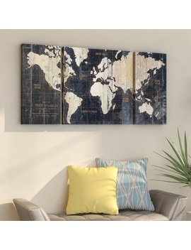 Mercury Row 'old World Map Blue' 3 Piece Graphic Art Print Set On Wrapped Canvas & Reviews by Mercury Row