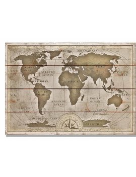 Daydream Hq 'old World Map' Graphic Art On Wood by Daydream Hq