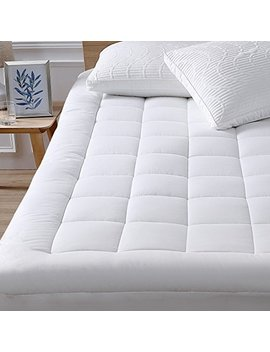 """Oaskys Mattress Pad Cover Cotton Top With Stretches To 18"""" Deep Pocket Fits Up To 8"""" 21"""" Cooling White Bed Topper (Down Alternative, Queen) by Oaskys"""
