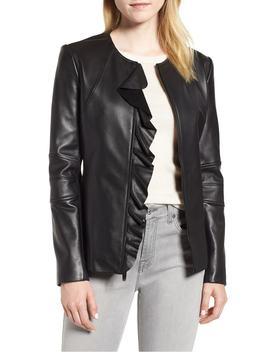Center Ruffle Leather Jacket by Via Spiga
