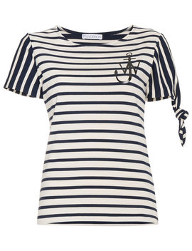 Jw Andersonstripe Logo Print Short Sleeve T Shirthome Women Clothing T Shirts & Jerseys by Jw Anderson