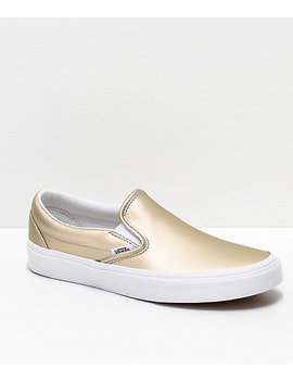 Vans Slip On Iridescent Muted Metallic Gold & White Skate Shoes by Vans