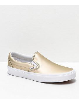 Vans Slip On Iridescent Muted Metallic Gold &Amp; White Skate Shoes by Vans