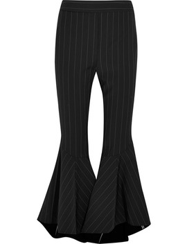 Sinuous Pinstriped Crepe Flared Pants by Ellery