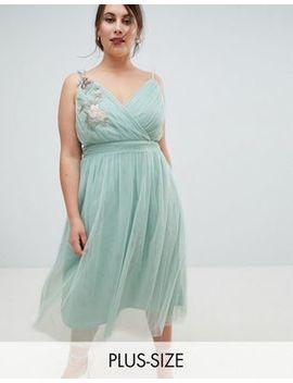Little Mistress Plus Floral Applique Midi Dress by Little Mistress Plus
