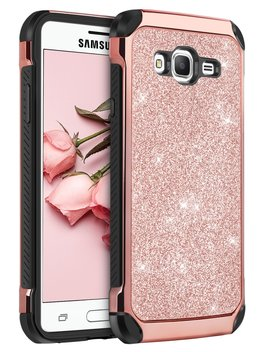 Samsung Galaxy J3 Case, Samsung J3 2016 Case, Galaxy J3 2016 Case, Galaxy Express Prime Case, Amp Prime Case, Bentoben Ultra Slim Fit 2 In 1 Sparkly Glitter Bling Hybrid Hard Cover Shiny Faux Leather Shockproof Protective Silicone Case For Samsung Ga... by Amazon