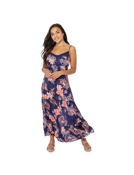 The Collection Petite   Navy Floral Print V Neck Petite Maxi Dress by The Collection Petite