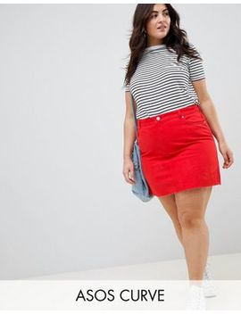 Asos Design Curve Denim Mini Skirt In Red by Asos Design