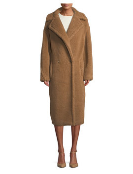 Double Breasted Camel Hair Blend Teddy Coat by Maxmara
