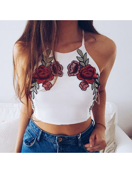 Fashion Women Summer Vest Top Sleeveless Embroidery Camis Casual Tops Women New Clotehs Camis by Ali Express