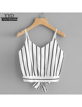 2018 Summer Style Tank Tops For Women's Self Tie Back V Neck Striped Crop Tops Cami Camisole Female Camisas Mujer &308 by Youyedian