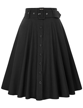 Belle Poque Women's Stretch High Waist A Line Flared Midi Skirts With Pockets & Belts by Belle+Poque