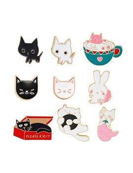 Lovely Cat Brooch Set Cute Cartoon Kitty Rabbit Brooch Pins Enamel Brooches Lapel Pins Clothes Bags Decoration Gifts For Woemn Girls By Join Love by Join Love Jewelry