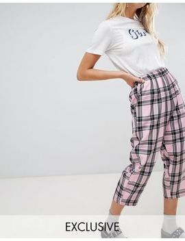 Reclaimed Vintage Inspired Drop Crotch Pants In Pink Check by Reclaimed Vintage