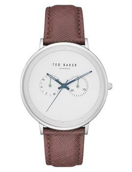 Brad Multifuntion Leather Strap Watch, 42 Mm by Ted Baker London
